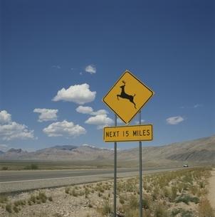 鹿飛び出し注意の標識と青空と雲 アメリカの写真素材 [FYI03856296]