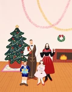 ペーパークラフト クリスマスのファミリーの写真素材 [FYI03857706]