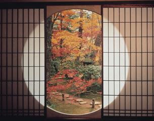 丸窓と紅葉の写真素材 [FYI03858113]