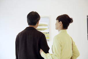 ギャラリーで鑑賞する熟年夫婦の写真素材 [FYI03858938]