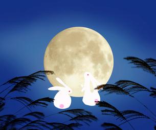 ススキと満月とウサギの写真素材 [FYI03859183]