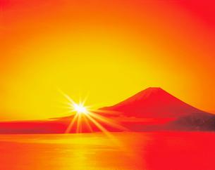 富士山の初日の出のイラスト素材 [FYI03859385]