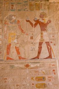 ハトシェプスト女王葬祭殿のホルス神の壁画の写真素材 [FYI03859787]