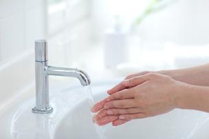 手洗いする子供の手の写真素材 [FYI03860575]