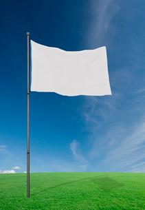 風にそよぐ白い旗の写真素材 [FYI03860830]