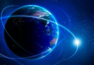 光の飛び交う地球イメージの写真素材 [FYI03860898]