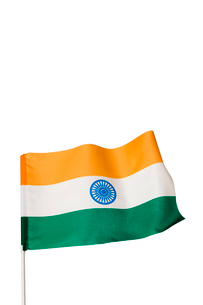 たなびくインド国旗の写真素材 [FYI03860912]