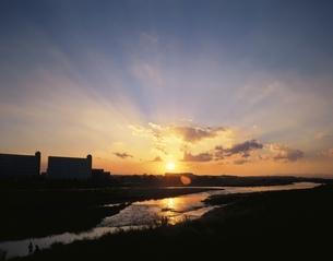 多摩川の夕日  狛江市 東京都の写真素材 [FYI03861200]