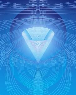 エレクトロニクスパターンと透明円錐のイメージのイラスト素材 [FYI03862829]