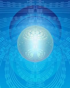 エレクトロニクスパターンと半透明球体イメージのイラスト素材 [FYI03862830]