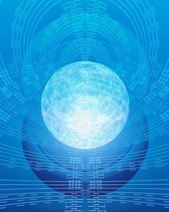 エレクトロニクスパターンと光る球体のイラスト素材 [FYI03862831]