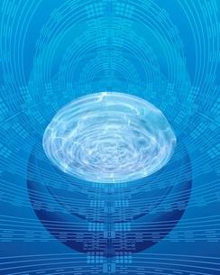 エレクトロニクスパターンと光る波紋のイラスト素材 [FYI03862832]
