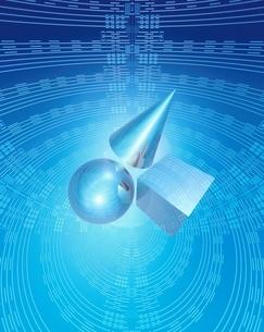 エレクトロニクスパターンと透明幾何学形物体のイメージのイラスト素材 [FYI03862833]