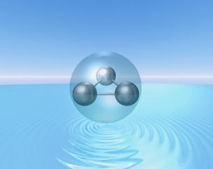 水面に浮かぶ球体(水色) CGのイラスト素材 [FYI03862837]