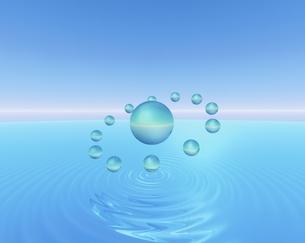 水面に浮かぶ球体(水色) CGのイラスト素材 [FYI03862841]