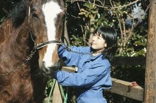 馬と日本人の女の子の写真素材 [FYI03863504]