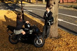 イチョウの木の下でバイクに跨る女子高生と男子高生の写真素材 [FYI03863937]