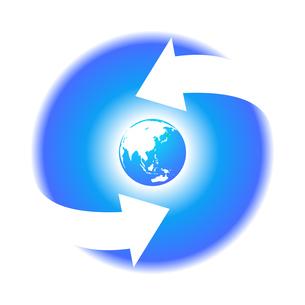 リサイクル青色地球イラストアイコン素材のイラスト素材 [FYI03867219]
