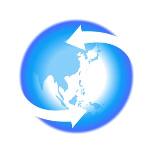 リサイクル青色地球イラストアイコン素材のイラスト素材 [FYI03867220]