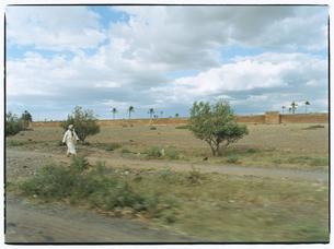 野原を歩く女性  マラケッシュ モロッコの写真素材 [FYI03867700]