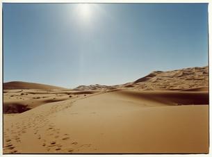 砂についた足跡 サハラ砂漠 モロッコの写真素材 [FYI03867725]
