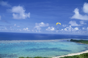 珊瑚礁の海とパラグライダーの写真素材 [FYI03868363]