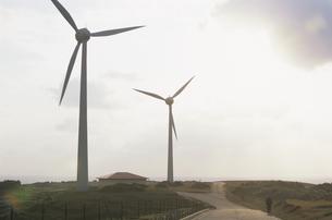 東崎の風力発電と朝日の写真素材 [FYI03868437]