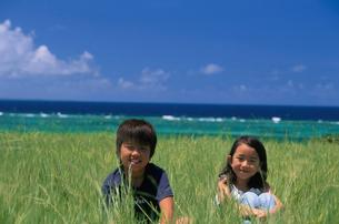 草むらに座る男の子と女の子の写真素材 [FYI03868500]