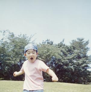 芝生ではしゃぐ日本人の男の子の写真素材 [FYI03868546]