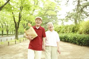 買い物袋を持って並木道を歩くシニア夫婦の写真素材 [FYI03869158]