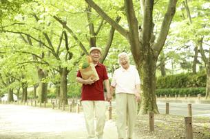 買い物袋を持って並木道を歩くシニア夫婦の写真素材 [FYI03869159]