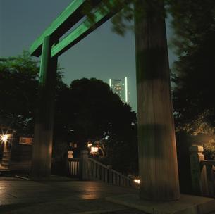 夜の神社から見えるランドマークタワーの写真素材 [FYI03869970]