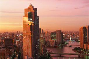 勝どきから望む中央大橋と永代橋方面の夜景の写真素材 [FYI03870871]