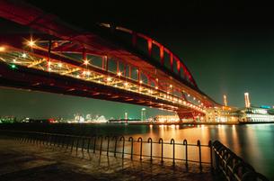 ポートアイランド北公園から神戸大橋越しに望むハーバーランドの写真素材 [FYI03870957]