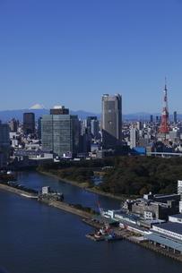 勝どきより東京タワーと浜離宮と富士山を望むの写真素材 [FYI03871037]