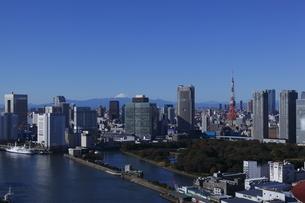 勝どきより東京タワーと浜離宮と富士山を望むの写真素材 [FYI03871079]