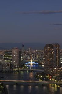 勝どきより隅田川と東京スカイツリーの夜景を望むの写真素材 [FYI03871087]
