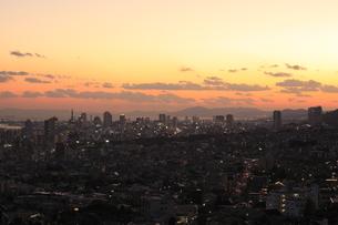 神戸市灘区付近から眺める神戸港と三宮方面の夕景の写真素材 [FYI03871222]