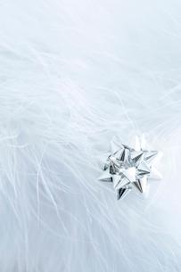 白い羽毛とシルバースターの写真素材 [FYI03871822]