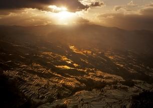 夕日を浴びる元陽の棚田の写真素材 [FYI03872065]