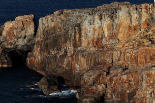 12月冬 砂岩の地質露頭 紀伊白浜三段壁の田辺層群の写真素材 [FYI03877267]