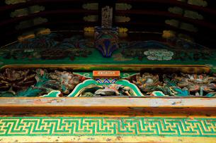 日光東照宮 雀の彫刻 廻廊の写真素材 [FYI03877569]