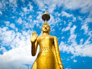 中国 雲南省 景洪近郊の村 金色の仏像の写真素材 [FYI03877883]