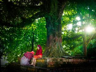 ネパール 木陰でゆっくりする老婆の写真素材 [FYI03877917]