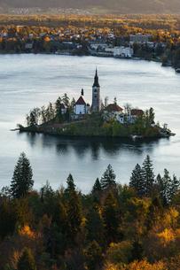 スロベニア 秋のブレッド湖の写真素材 [FYI03878808]