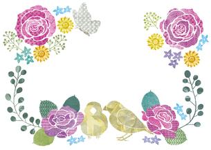 バラと小鳥のフレームのイラスト素材 [FYI03879226]