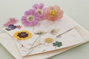 レターセットと花の写真素材 [FYI03879999]