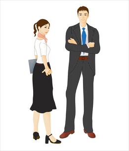 スーツを着た男女のイラスト素材 [FYI03880219]