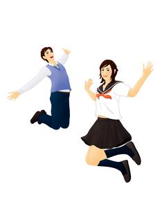 ジャンプする学生男女のイラスト素材 [FYI03880289]
