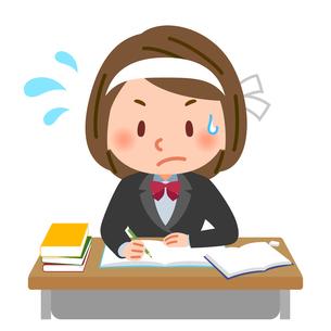 真剣な表情で勉強する学生のイラスト素材 [FYI03880629]